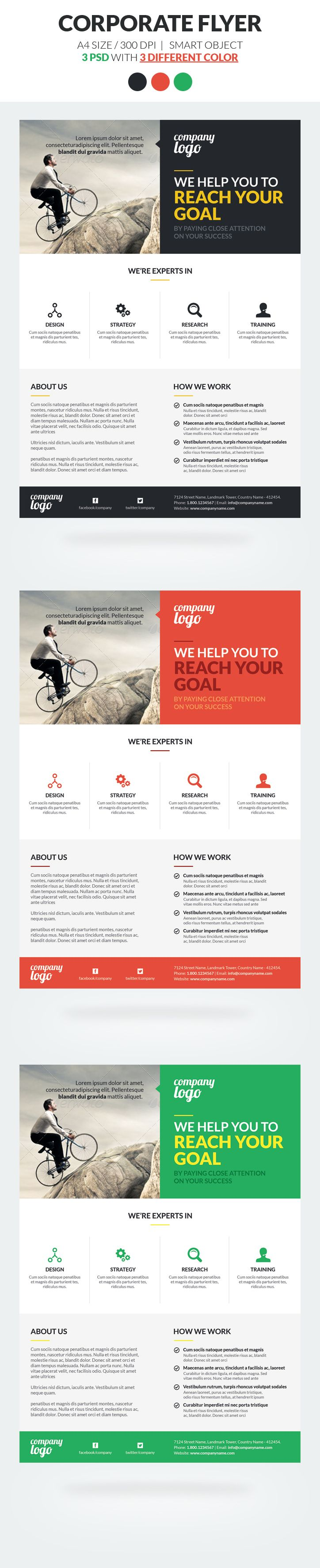 Corporate Flyer Template Vol 2 is fully layred and very easy to edit template. Included 3 different color options.