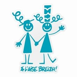 Autocollant Couple Breton Bleu