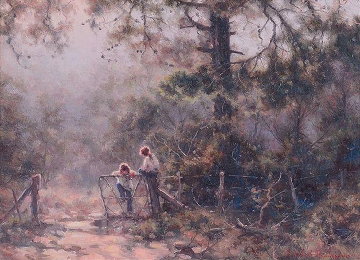 "Ramon Ward-Thompson (1941-), Original Oil Painting ""Berrima Morning"""