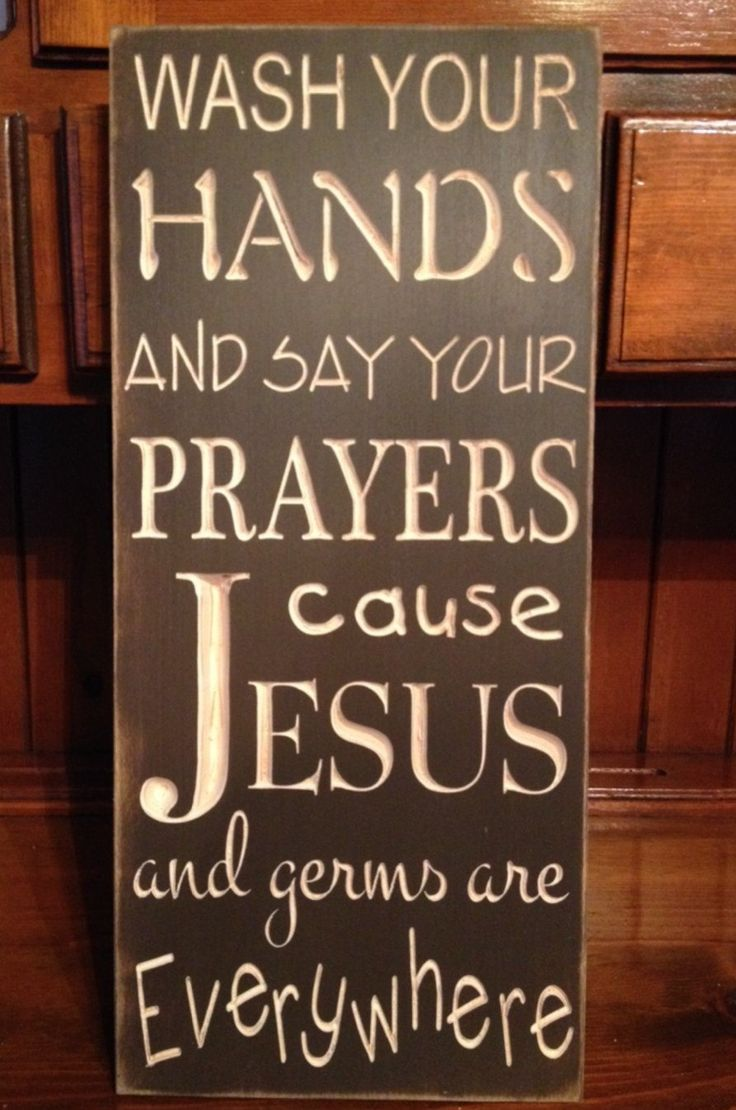 """Custom Carved Wooden Sign - """"Wash Your Hands And Say Your Prayers, Cause Jesus And Germs Are Everywhere"""" by HayleesCloset on Etsy"""