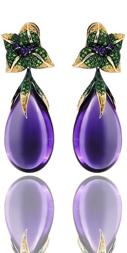 Emily H London Emilia Short Pendant Earrings in 18ct gold, featuring amethyst cabochons, amethysts, tsavorites and yellow diamonds