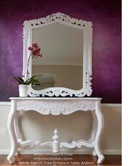 White French Style Table and Mirror Hallway Entrance Set Ornamaya