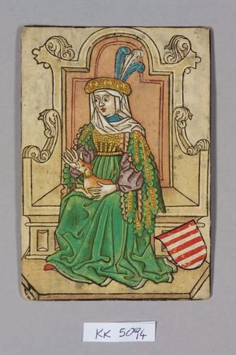 """Queen, House of Arpad (in Celje feathers). Perhaps Anne, Duchess of Luxembourg (1432 Vienna -1462 Saxony-Anhalt), Ladislaus's oldest sister? On 2 June 1446, 14-year old Anne was married to William """"the Brave"""" of Saxony (1425–82), Landgrave of Thuringia, a younger son of Frederick I """"the Warlike"""" of Saxony.  They had 2 daughters: Margaret of Thuringia (1449 – 13 July 1501) and Katharina of Thuringia (1453 – 10 July 1534)"""