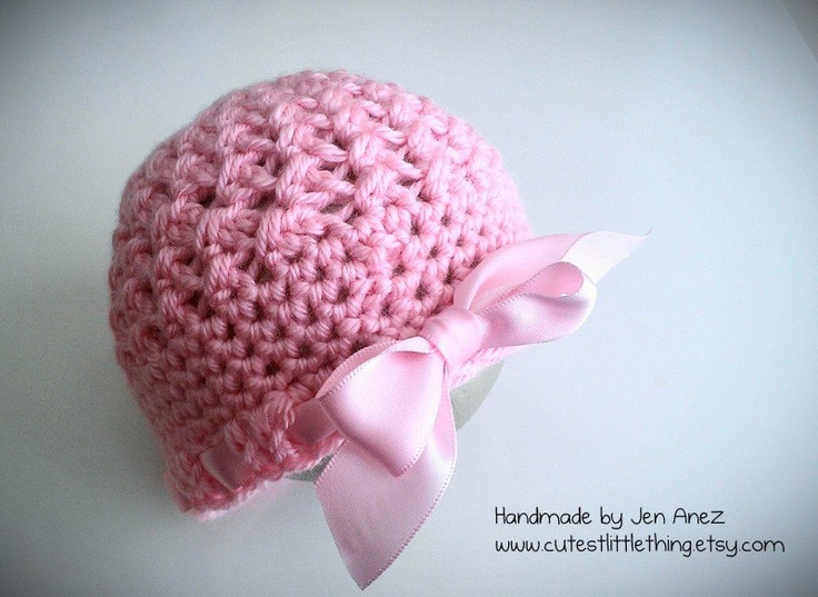 Baby Girl Hat, Crochet Baby Girl Hat with Pink Bow, Baby Girl Newborn Photo Prop. $21.99, via Etsy.