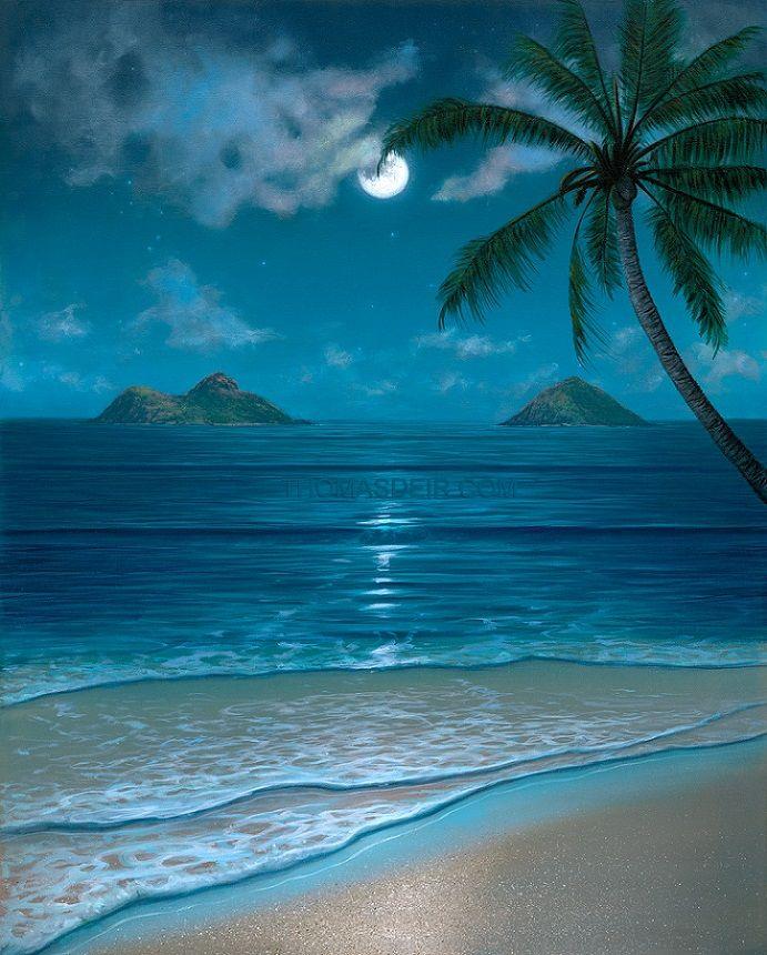 Hawaii Tropical Beach Mokulua Moon Bow Paintings