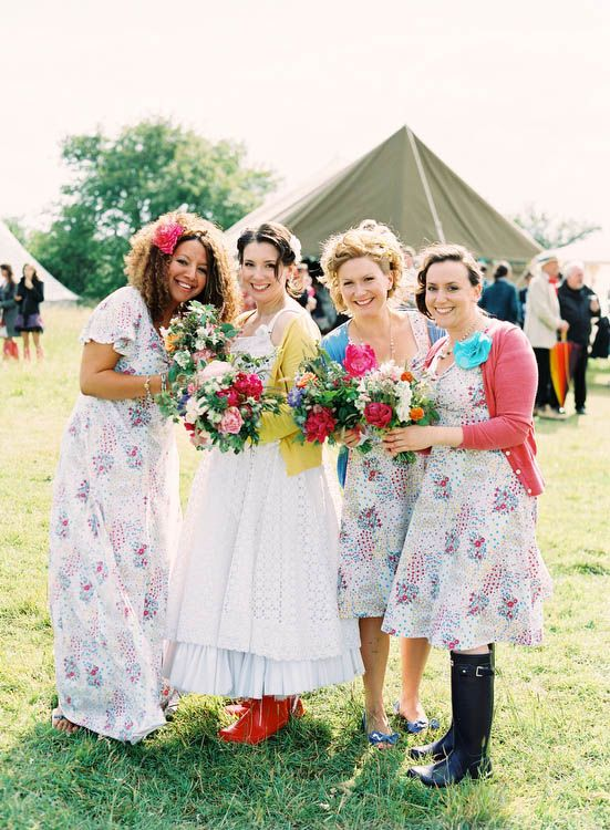 Festival Style Bridesmaids - Read more: http://onefabday.com/favourite-festival-style-real-weddings/