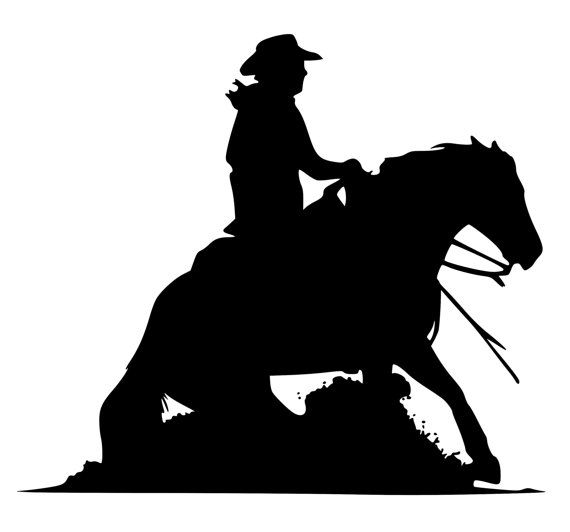 silhouette reining horse   Horse decal-Western Horse Wall sticker-Reining Horse Decal- 28x24 ...
