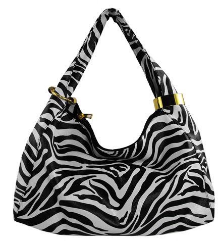 Black Animal Print Hobo Roomy Handbag