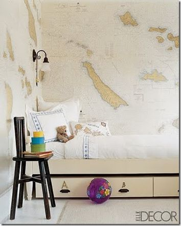 Kids Bedroom With Map Wallpaper Elle Decor