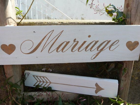 french wedding wood sign panneau pour mariage avec fl che fl che mariage mariage and etsy. Black Bedroom Furniture Sets. Home Design Ideas