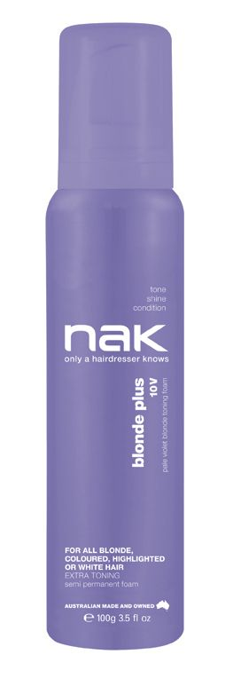 nak blonde plus 10V toning foam / designed for blonde, highlighted, chemically lightened or grey hair #tone #shine #condition