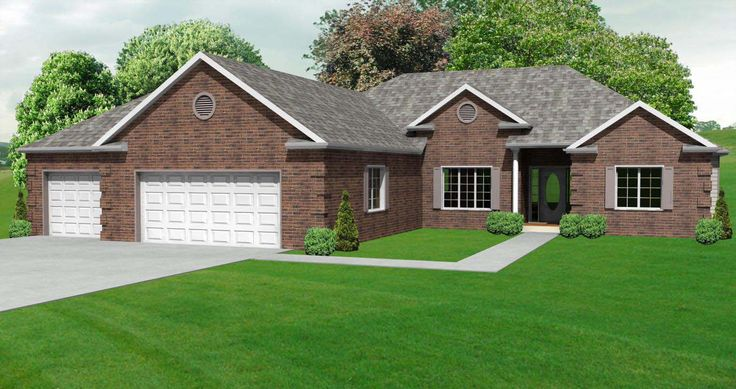 25 best images about brick ranch homes on pinterest for Brick ranch house plans basement