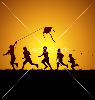 Kids flying a kite vector 980592 - by Seyyah on VectorStock®