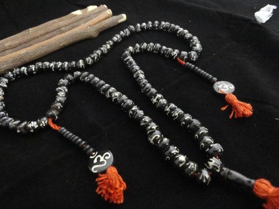 Hindu Om Yoga Meditation 108 Bone Beads Prayer by beadsincredible, $9.99