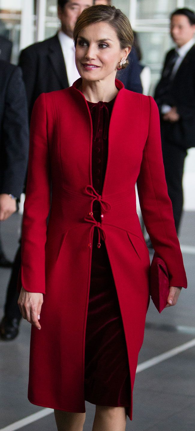 Felipe Varela red tie-front coat