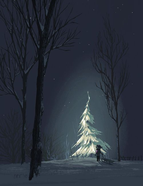 Illustrations by Chris Turnham. This reminds me of sled riding as a kid. Dragging our sleds through the woods at night. Snow covered luminous trees.