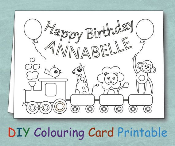 Personalized Coloring Kids Birthday Card by VeryFairyGood on Etsy