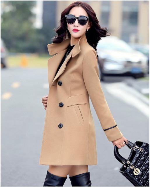 d65b77246faf0 YAGENZ Blends Woolens Overcoat Female Coat Autumn Winter Coats And Jackets  Women Plus size Coat Women s Wool Coats Long Tops 647