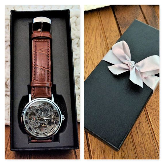Personalized watch for men engraved wristwatch skeleton