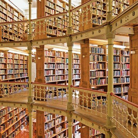 Linderman Library, Lehigh University, Bethlehem, Pennsylvania Opened in 1878, the Linderman Library was designed by Philadelphia architect Addison Hutton, who modeled the Venetian architecture after the British Museum in London.