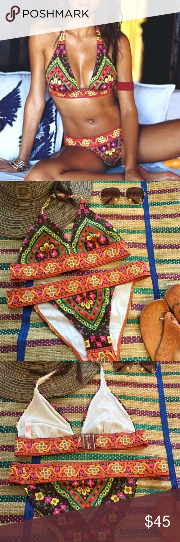 Tribal Victoria Secret Bikini Spice up you beach look with this two piece Tribal inspired swimsuit from Victoria's Secret. Size: S both bottom & halter top. Never been worn. NWOT in perfect condition. Victoria's Secret Swim Bikinis