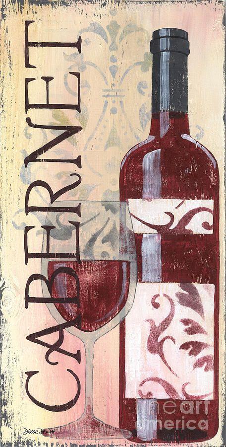 """Cabernet"" Wine Bottle & glass Vintage Art by Debbie Dewitt #cCreams #cRed"