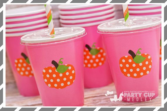 Set of 8 or 10-Pumpkin Patch Birthday Party by PartyCupMedley2