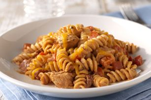 Fiesta Chicken Pasta recipe - this is a family favorite. Easy, delicious and cheap!