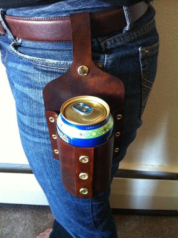 Leather beer holster, for hands-free carrying.