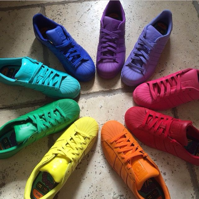 Adidas Supercolour Trainers Sneakers Dope Footwear Pharrell Williams 50  Colours Blue Green Purple Pink Red Orange