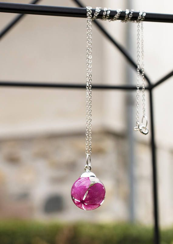 Dainty Pink Flower Necklace  Resin Pendant Necklace