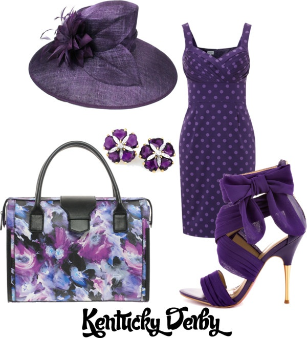 """Kentucky Derby Purple"" by angel4libby ❤ liked on Polyvore"