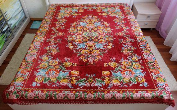 Vintage Bedspread red flowered bed cover velvet by MadeInTheUSSR