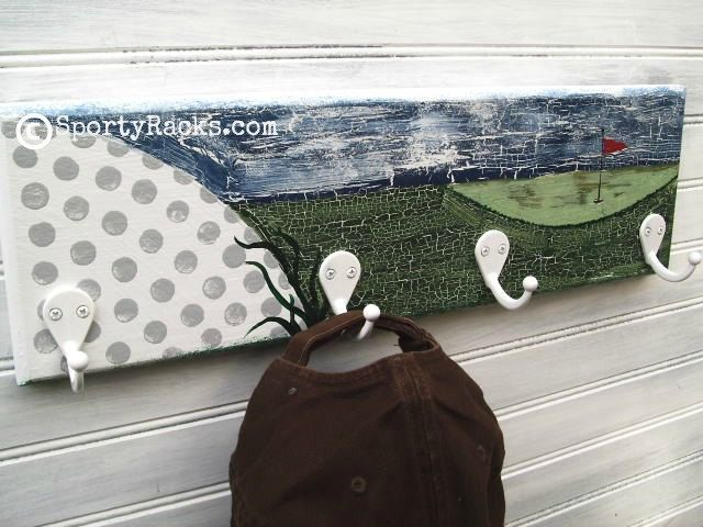 Awesome Golf Golfer Gift Wall Hook Rack Hanger Handpainted Golfball Hat Rack  Sports Sign Golfcourse Links