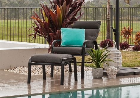 sierra cushion recliner aluminium chair footstool available outdoor furniture specialist 2 chairs and footstools and table 349 outdoor area - Furniture Specialist