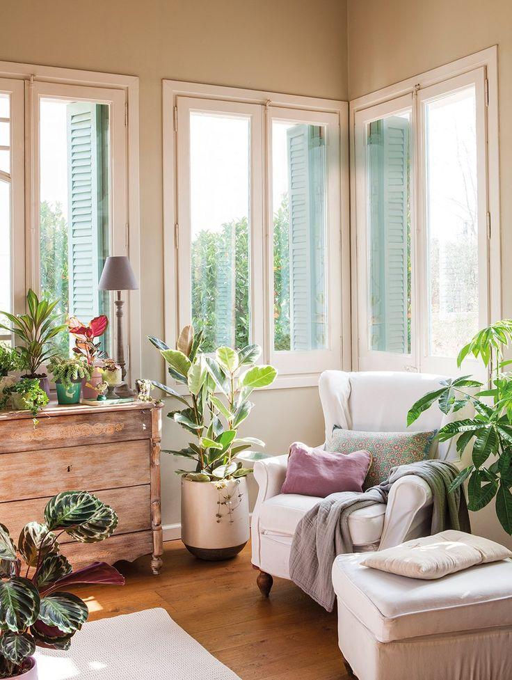 Cojines y plaid de Filocolore. Plantas, de Viveros Corma. Sobre la cómoda, la planta más alta es una cordiline, la pequeña en la maceta verde es un sedum, a su lado una calathea y en el centro de la foto un ficus elastica.