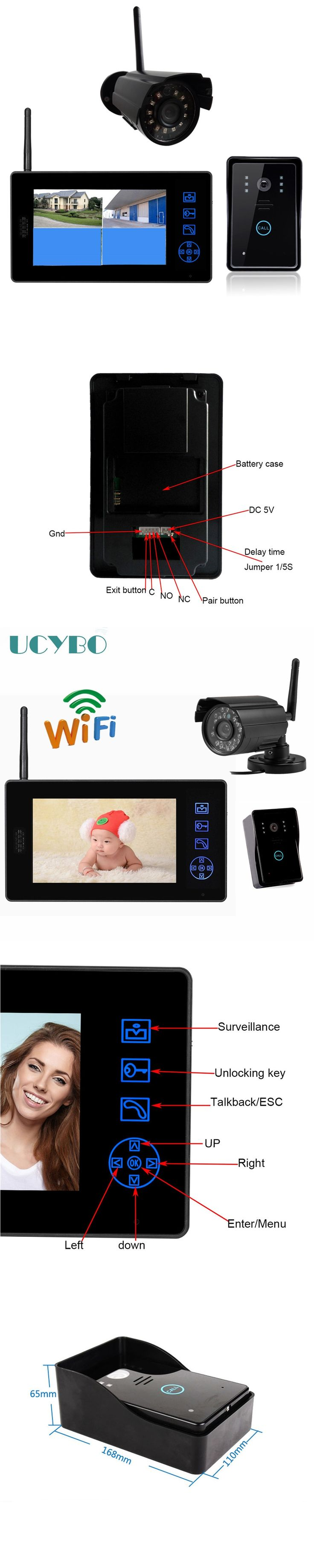 """7"""" lcd Wireless Video Door Phone Intercom Home Security camera system Doorbell doorphone video recording door intercom Monitor"""