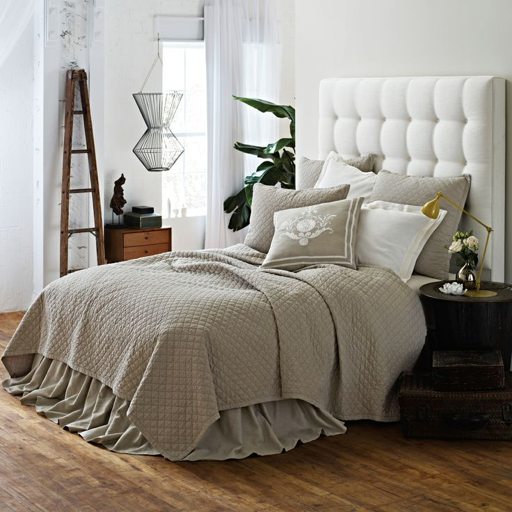 Bedding Sales 25% Off   Emily Diamond Quilted Bedding In Flax Linen