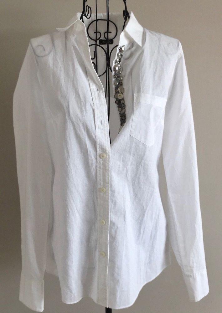 Nwt J Crew Beaded Rhinestone White Cotton Blouse Top Shirt Long