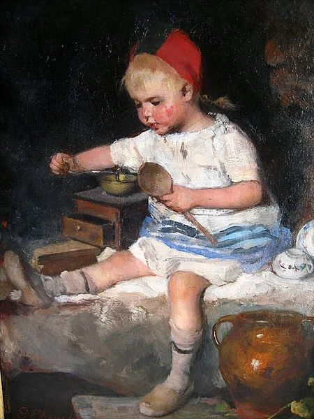 Emma Ekwall (1838 – 1925, Swedish) Young Girl With Wooden Spoon And Coffee Mill