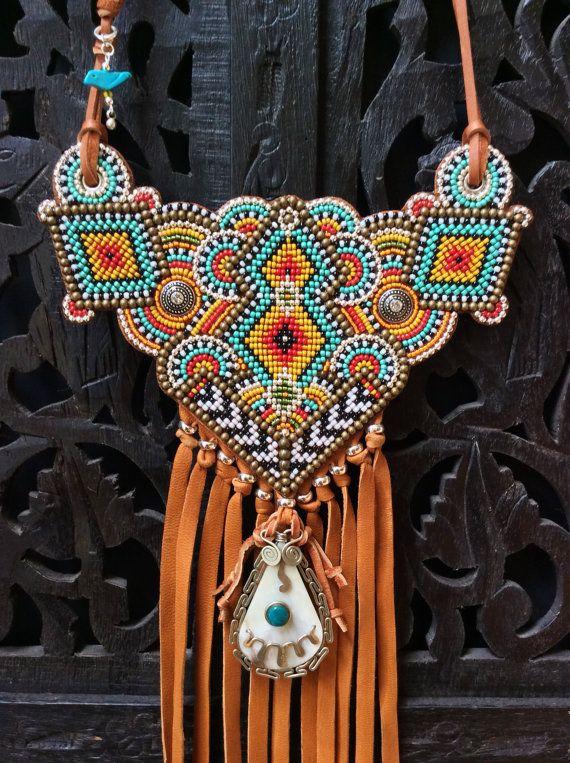 Collana tribale con collana in pelle frange, collana del sud-ovest, Boho