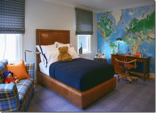 Home Decor - World map wall boy's bedroom. Maps have a great color palette for decorating boy's rooms, and they're educational! Find the perfect wall map for your child's bedroom here http://www.mapsales.com/?utm_source=pinterest&utm_medium=pin&utm_campaign=caption