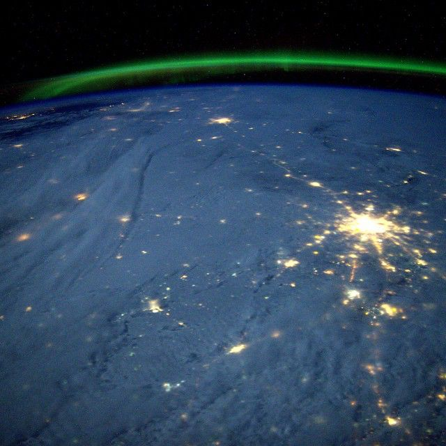 Moscow and distant Saint Petersburg under the Aurora. Photo Credit Barry Wilmore: 123F6230 NASA