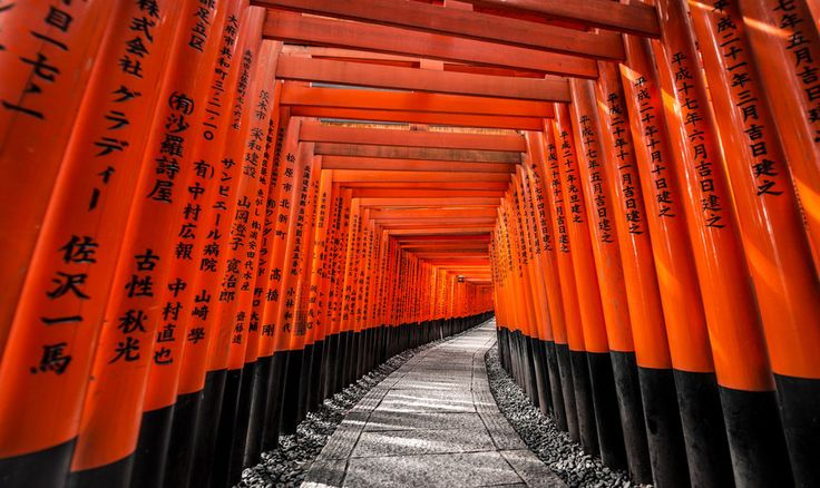 Fushimi Inari Shrine (伏見稲荷大社, Fushimi Inari Taisha) is an important Shinto shrine in southern Kyoto. It is famous for its thousands of vermilion torii gates, which straddle a network of trails behind its main buildings. The trails lead into the wooded forest of the sacred Mount Inari, which stands at 233 meters and belongs to the shrine grounds.