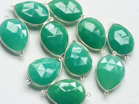 5 Pcs Green Chalcedony Connectors Green Faceted by gemsforjewels