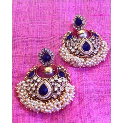 Really festive kundan blue bridal earrings with rows of chandni pearls v701