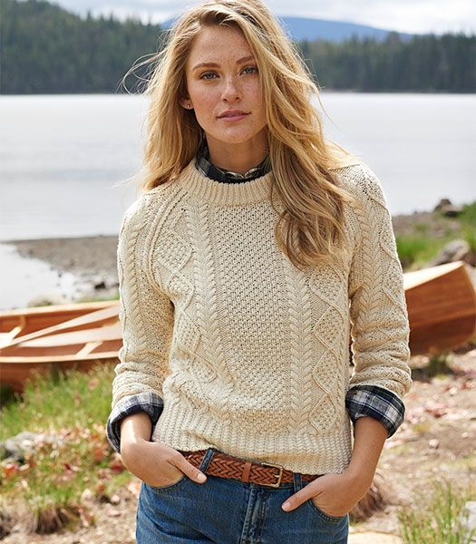 The Cotton Fisherman Sweater. The stitches of this sweater read like a good book. Look closely and you'll see the braids of a rope, the diamond lattice of a fishing net, the moss of an island farm. Like the original Aran sweater, you'll find stories of fishermen and farmers in every stitch. Except ours is told in a shorter length and a perfect shrunken fit. In premium cotton yarns and a style that feels authentic and modern all at once.