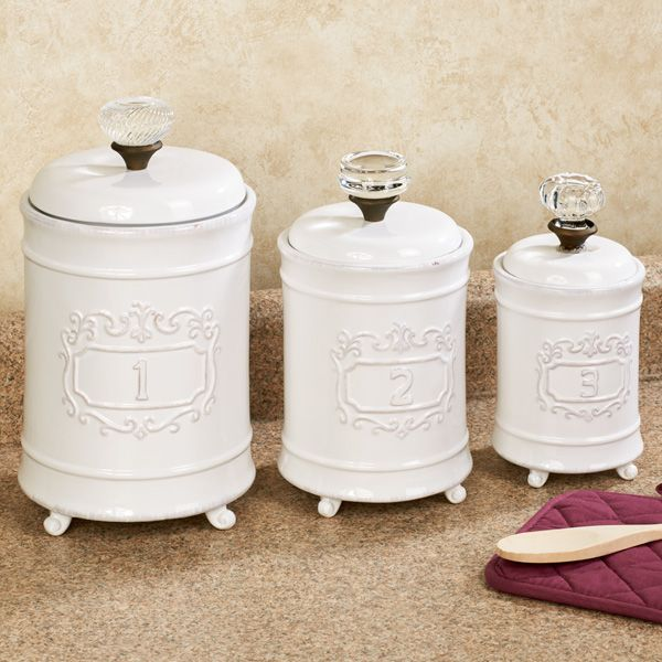 Circa White Ceramic Kitchen Canister Set Ceramic Kitchen Canisters White Kitchen Canisters Kitchen Canister Sets