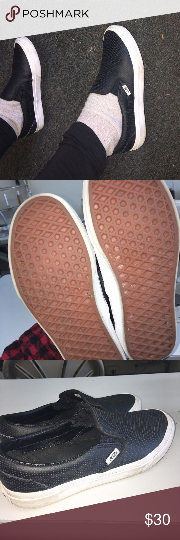 Vans leather slide on shoes  Leather slide on vans shoes size 7.5. Great and comfy. In good condition. Skater style so cute flannel and leggings ❤️ comes with box! PRICE FIRM! Vans Shoes Sneakers