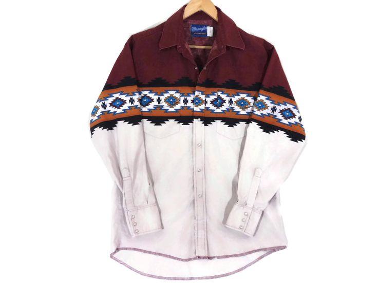 VTG Wrangler Western Shirt - Large - Cowboy Shirt - Rockabilly - Vintage Clothing - Western Wear - Work Wear - Tribal Print - Southwest - by BLACKMAGIKA on Etsy